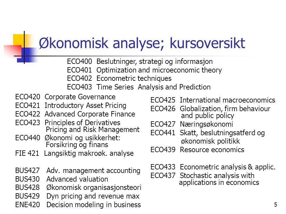 Økonomisk analyse; kursoversikt