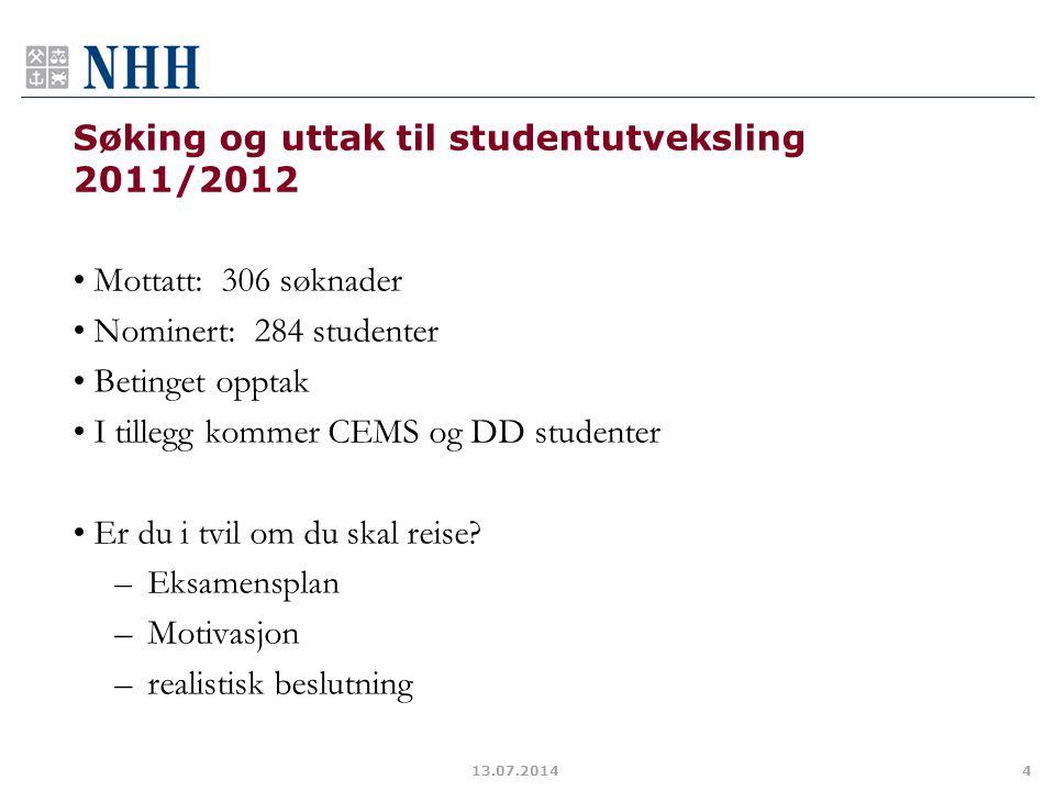 Søking og uttak til studentutveksling 2011/2012
