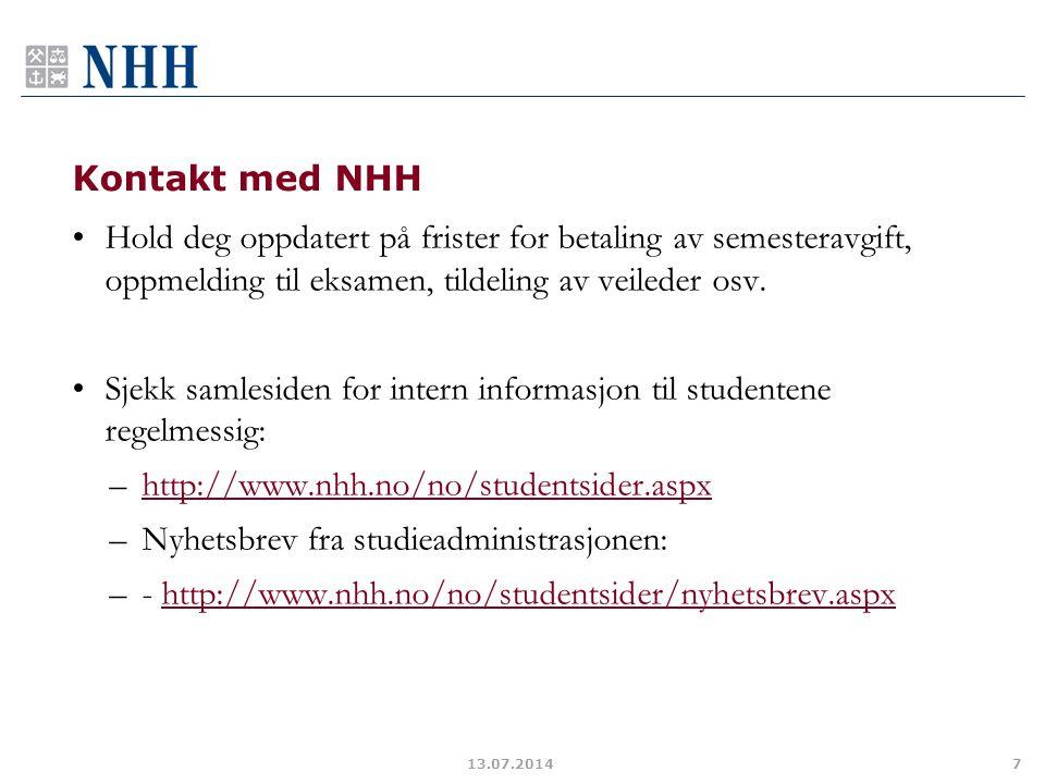 Sjekk samlesiden for intern informasjon til studentene regelmessig: