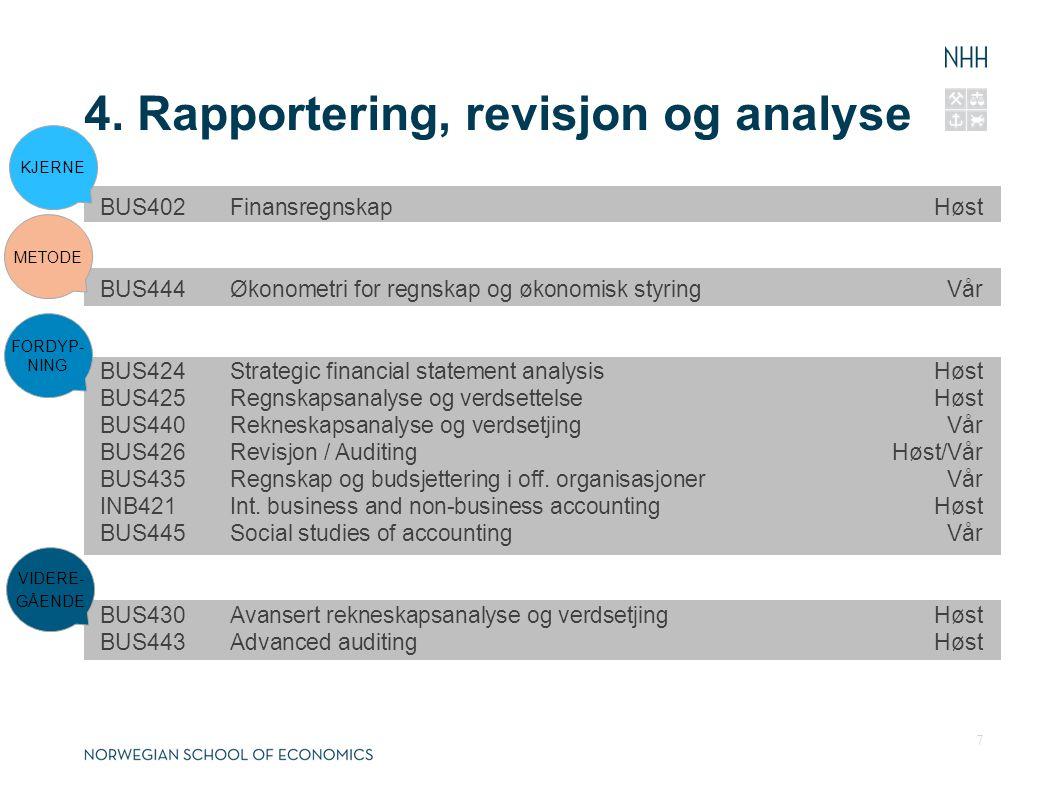 4. Rapportering, revisjon og analyse
