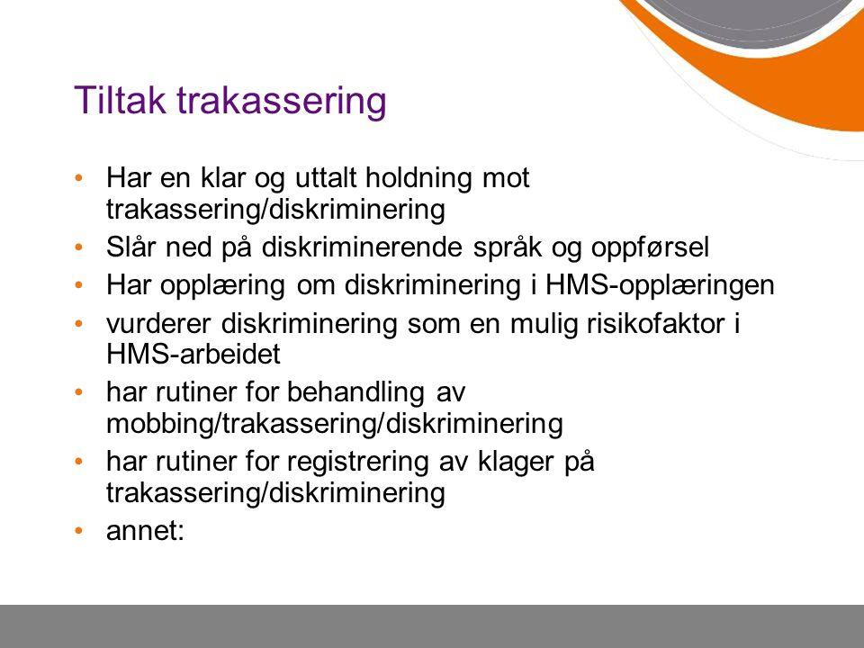 Tiltak trakassering Har en klar og uttalt holdning mot trakassering/diskriminering. Slår ned på diskriminerende språk og oppførsel.