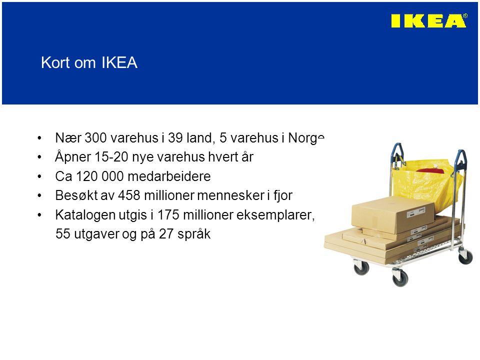 Kort om IKEA Nær 300 varehus i 39 land, 5 varehus i Norge