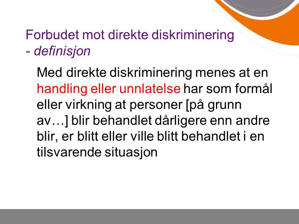 Forbudet mot direkte diskriminering - definisjon
