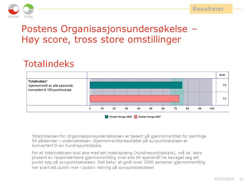 Resultater Postens Organisasjonsundersøkelse – Høy score, tross store omstillinger. 90 % svarte på undersøkelsen.