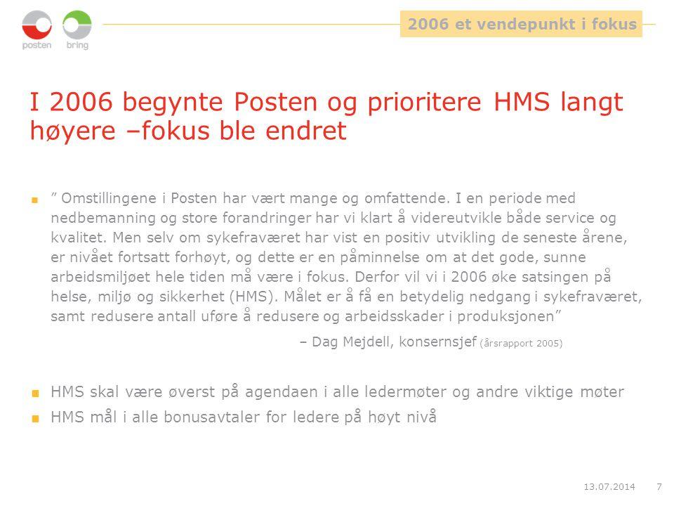 I 2006 begynte Posten og prioritere HMS langt høyere –fokus ble endret