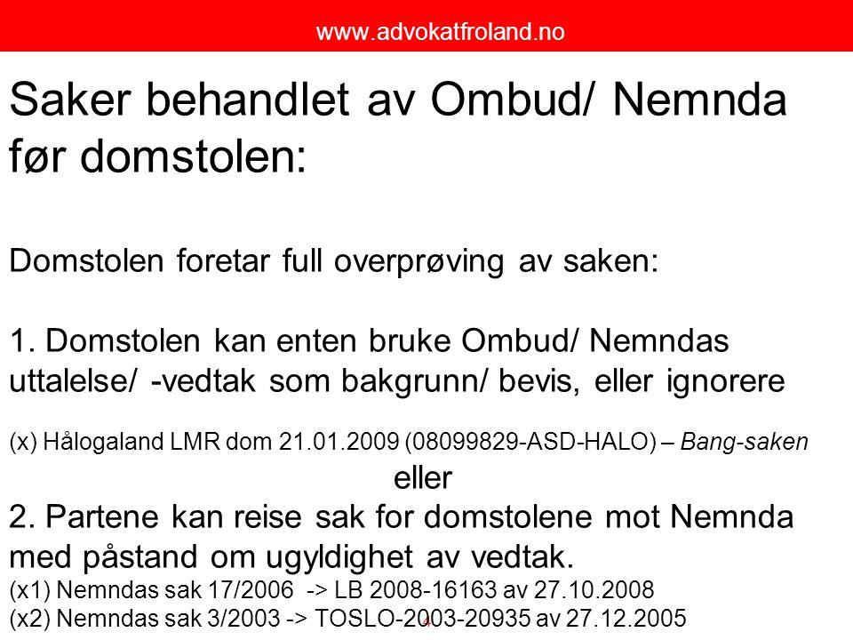 Saker behandlet av Ombud/ Nemnda før domstolen: