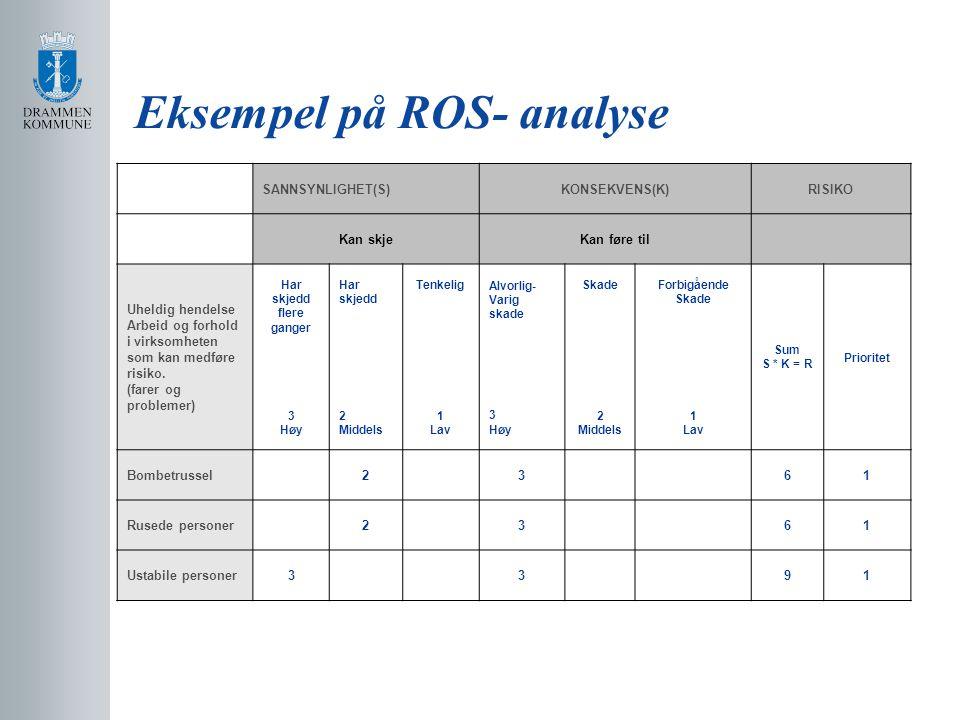 Eksempel på ROS- analyse