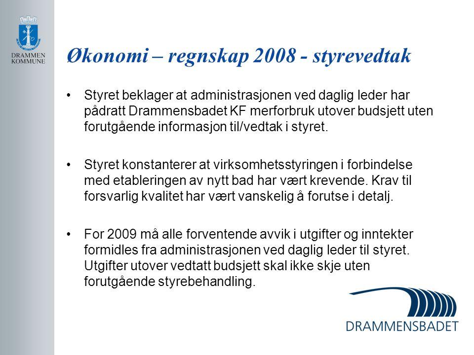 Økonomi – regnskap 2008 - styrevedtak