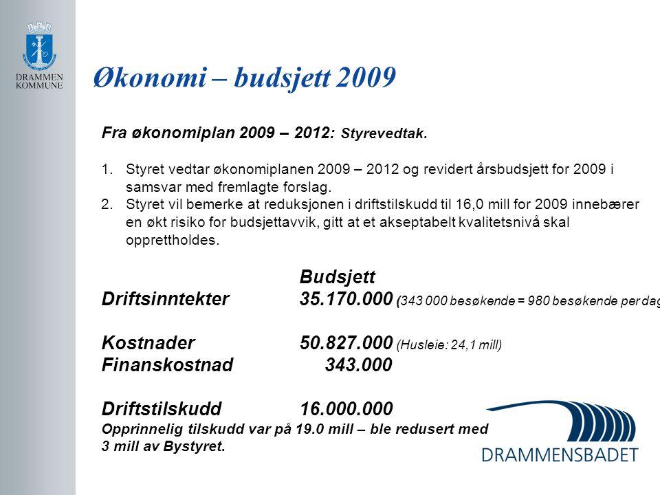 Økonomi – budsjett 2009 Fra økonomiplan 2009 – 2012: Styrevedtak. Styret vedtar økonomiplanen 2009 – 2012 og revidert årsbudsjett for 2009 i.