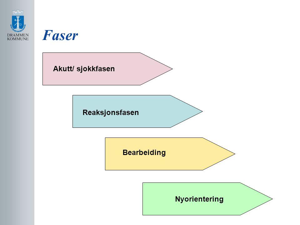 Faser Akutt/ sjokkfasen Reaksjonsfasen Bearbeiding Nyorientering