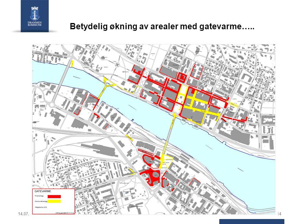 Betydelig økning av arealer med gatevarme…..