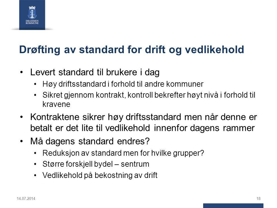 Drøfting av standard for drift og vedlikehold
