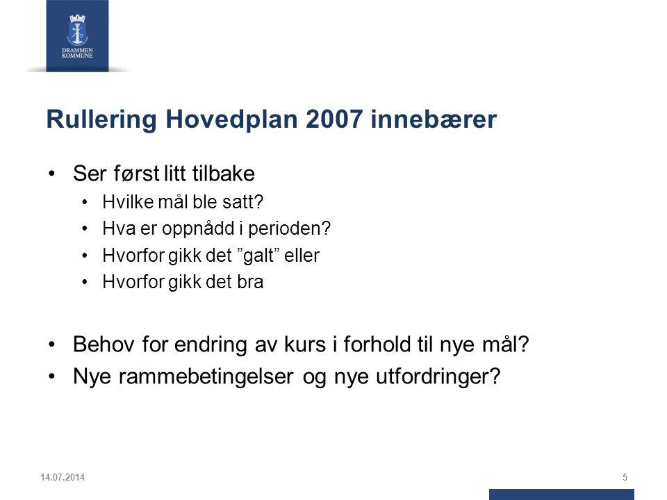 Rullering Hovedplan 2007 innebærer