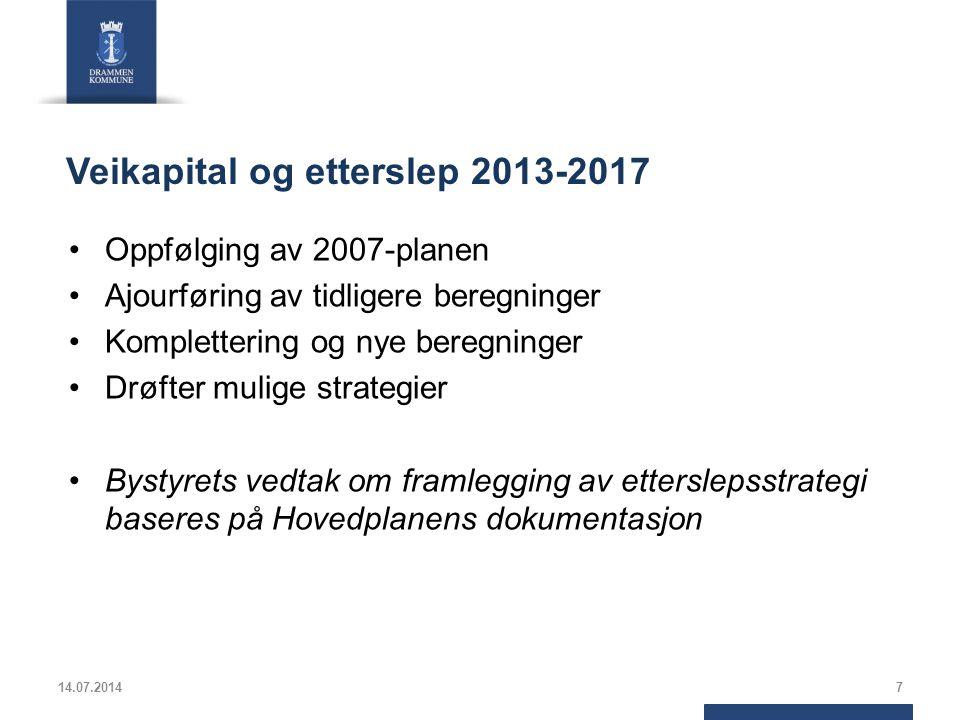 Veikapital og etterslep 2013-2017