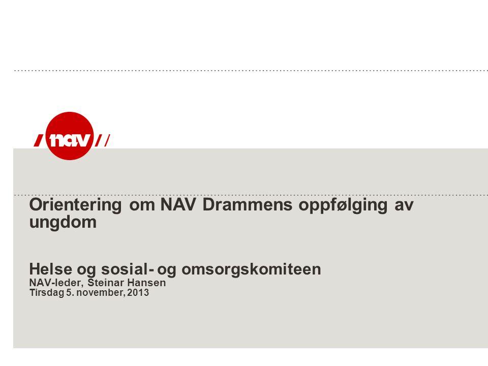 Orientering om NAV Drammens oppfølging av ungdom Helse og sosial- og omsorgskomiteen NAV-leder, Steinar Hansen Tirsdag 5.