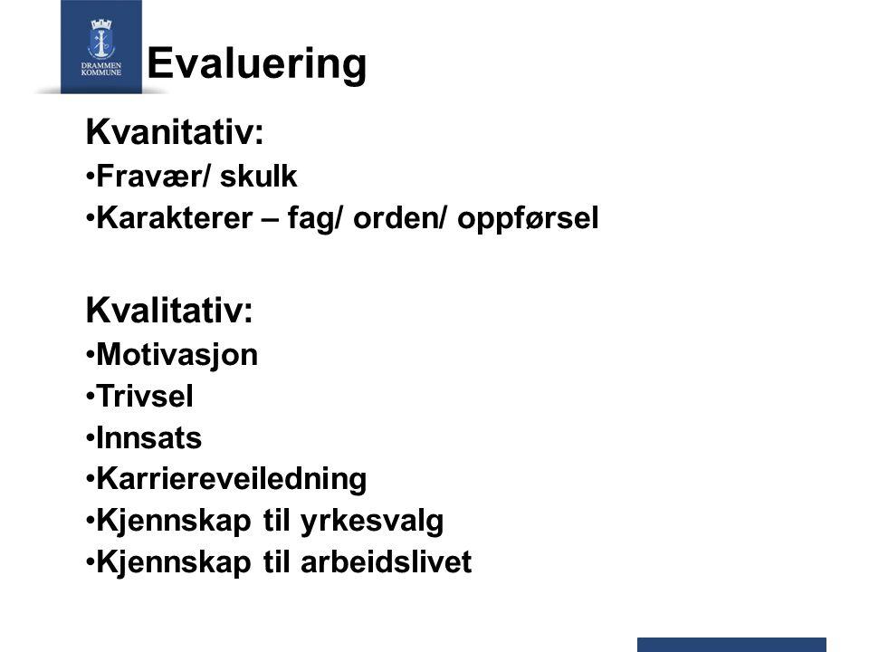 Evaluering Kvanitativ: Kvalitativ: Fravær/ skulk