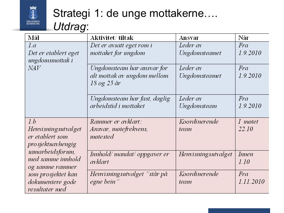 Strategi 1: de unge mottakerne….