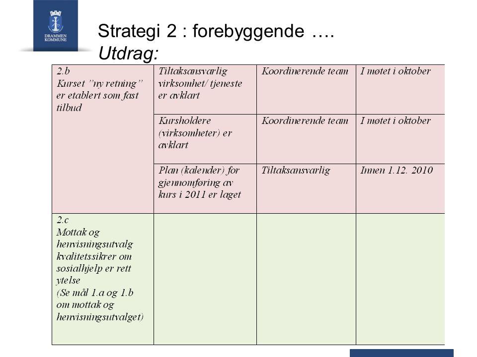 Strategi 2 : forebyggende …. Utdrag: