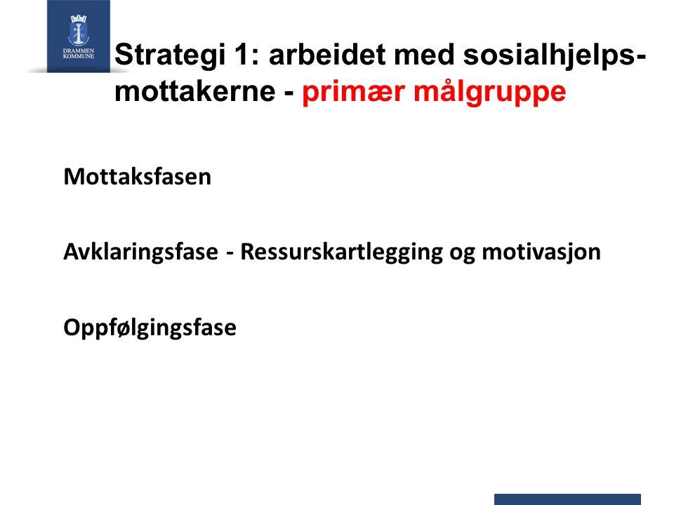 Strategi 1: arbeidet med sosialhjelps- mottakerne - primær målgruppe