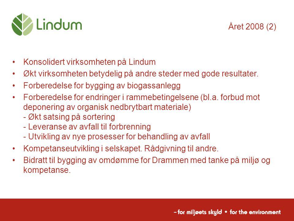 Året 2008 (2) Konsolidert virksomheten på Lindum. Økt virksomheten betydelig på andre steder med gode resultater.