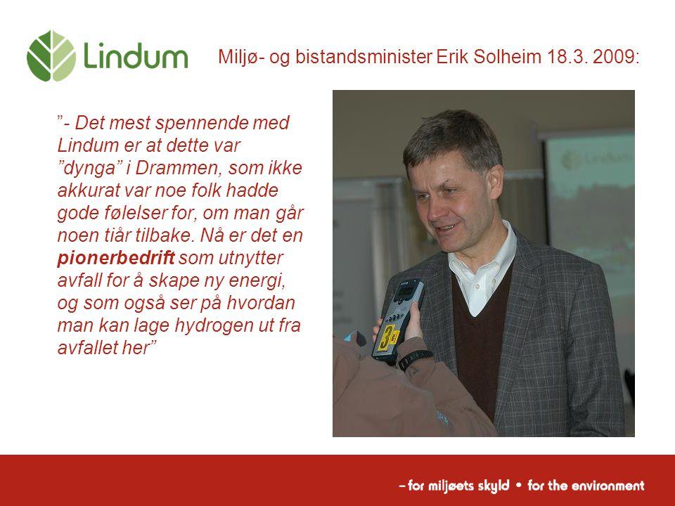 Miljø- og bistandsminister Erik Solheim 18.3. 2009: