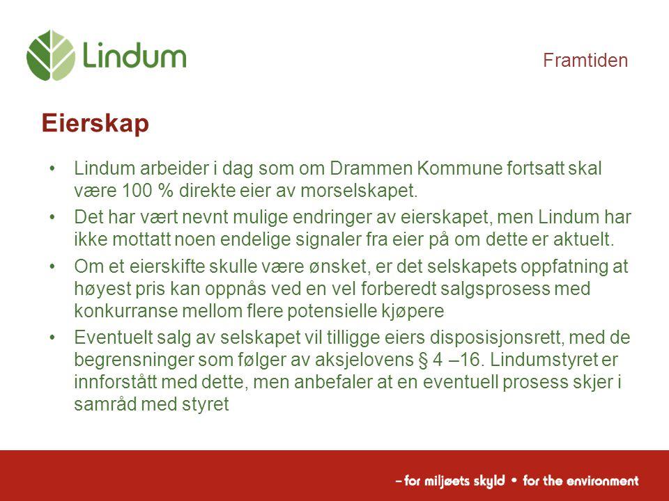 Framtiden Eierskap. Lindum arbeider i dag som om Drammen Kommune fortsatt skal være 100 % direkte eier av morselskapet.