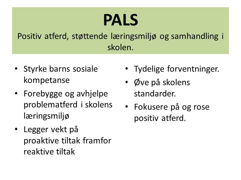 PALS Positiv atferd, støttende læringsmiljø og samhandling i skolen.