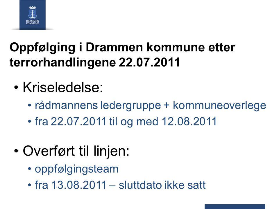 Oppfølging i Drammen kommune etter terrorhandlingene 22.07.2011