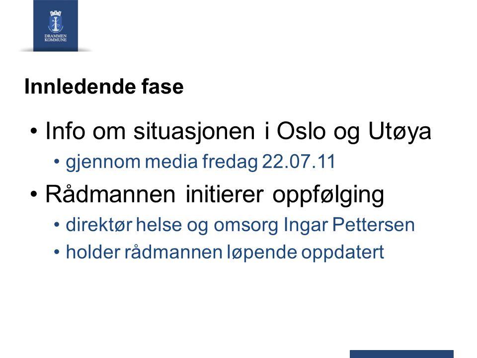 Info om situasjonen i Oslo og Utøya Rådmannen initierer oppfølging
