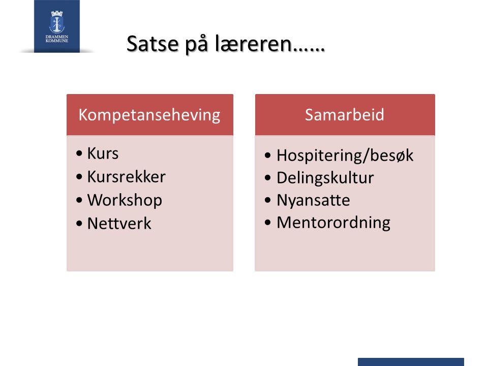Satse på læreren…… Kompetanseheving Kurs Kursrekker Workshop Nettverk