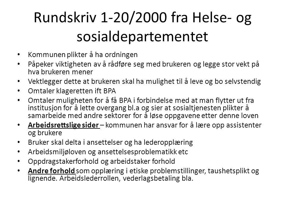 Rundskriv 1-20/2000 fra Helse- og sosialdepartementet
