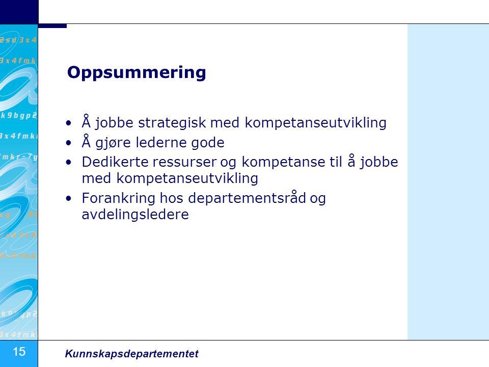 Oppsummering Å jobbe strategisk med kompetanseutvikling