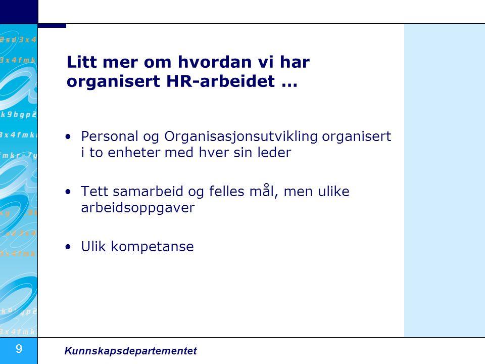 Litt mer om hvordan vi har organisert HR-arbeidet …