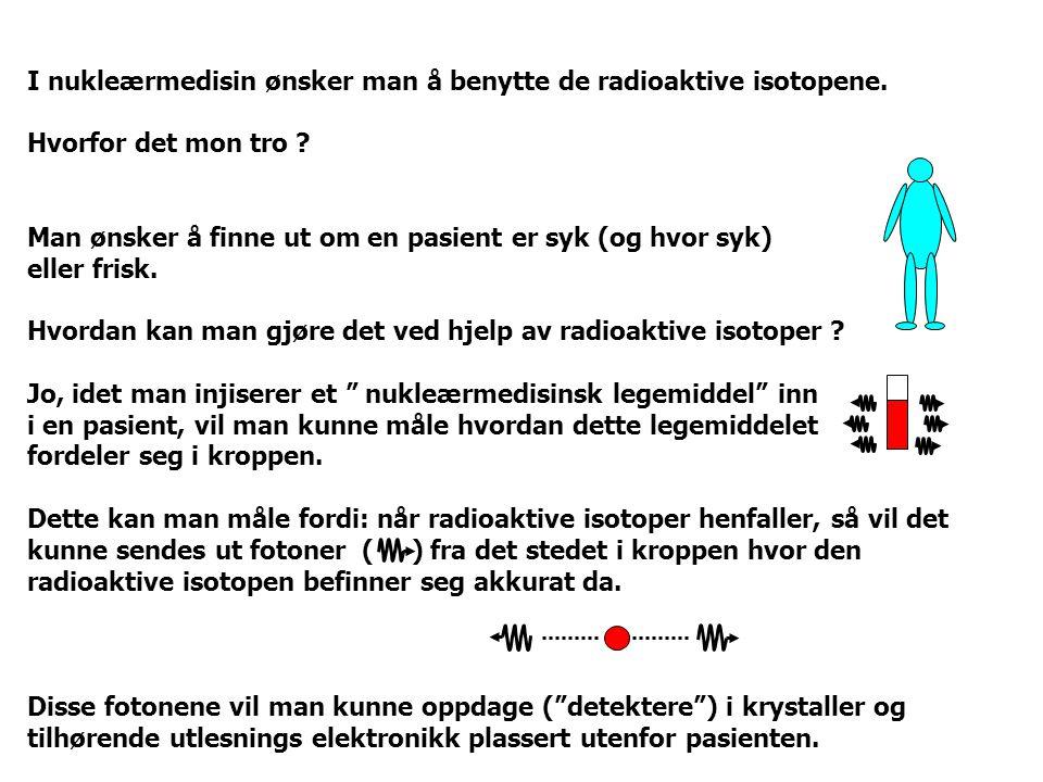 I nukleærmedisin ønsker man å benytte de radioaktive isotopene.
