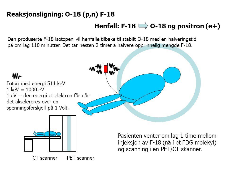 Reaksjonsligning: O-18 (p,n) F-18