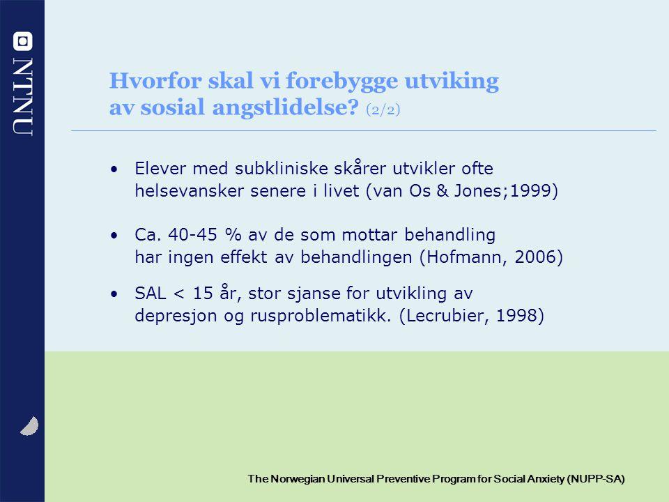 Hvorfor skal vi forebygge utviking av sosial angstlidelse (2/2)