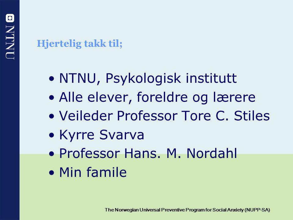 NTNU, Psykologisk institutt Alle elever, foreldre og lærere