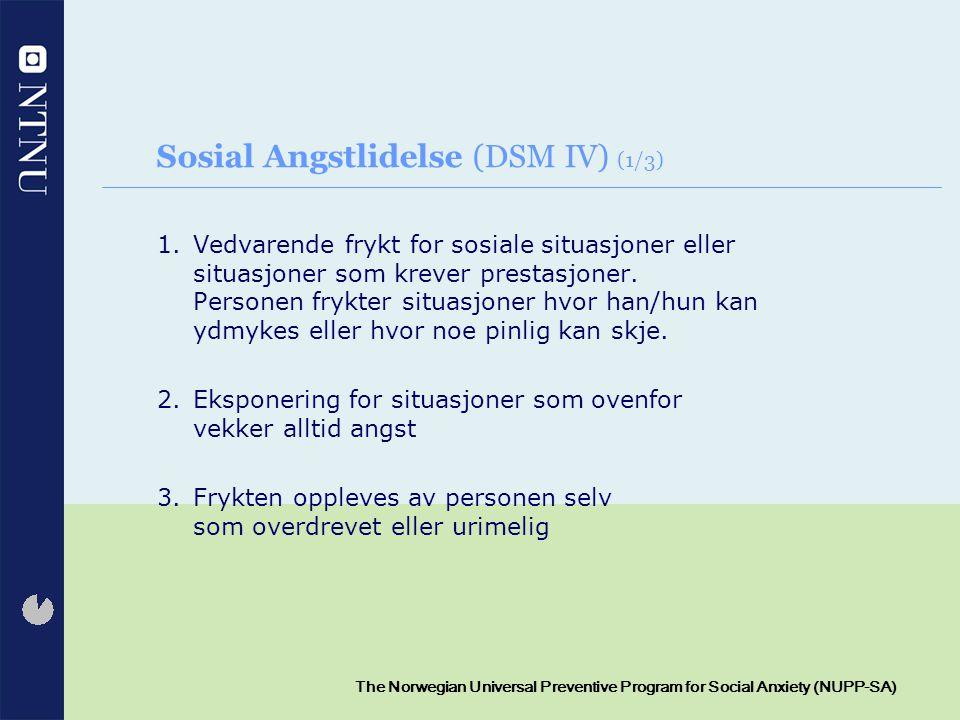 Sosial Angstlidelse (DSM IV) (1/3)
