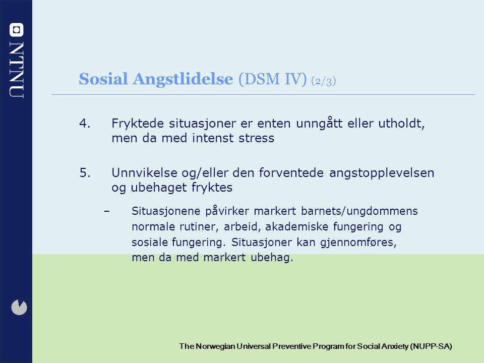 Sosial Angstlidelse (DSM IV) (2/3)