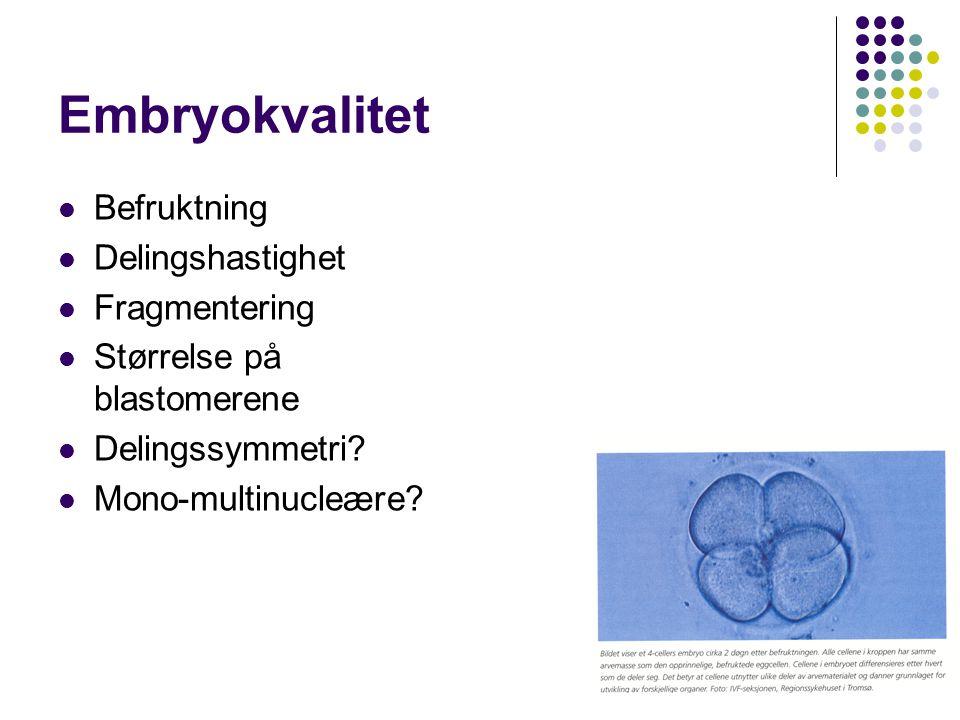 Embryokvalitet Befruktning Delingshastighet Fragmentering
