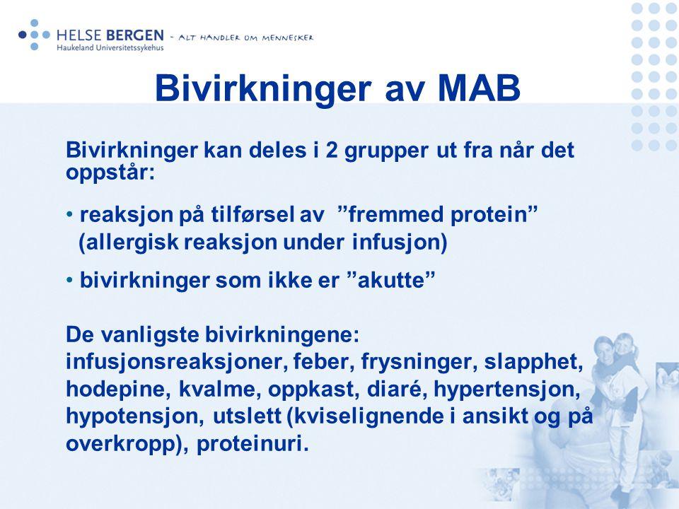 Bivirkninger av MAB Bivirkninger kan deles i 2 grupper ut fra når det oppstår: reaksjon på tilførsel av fremmed protein