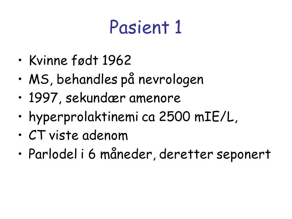 Pasient 1 Kvinne født 1962 MS, behandles på nevrologen