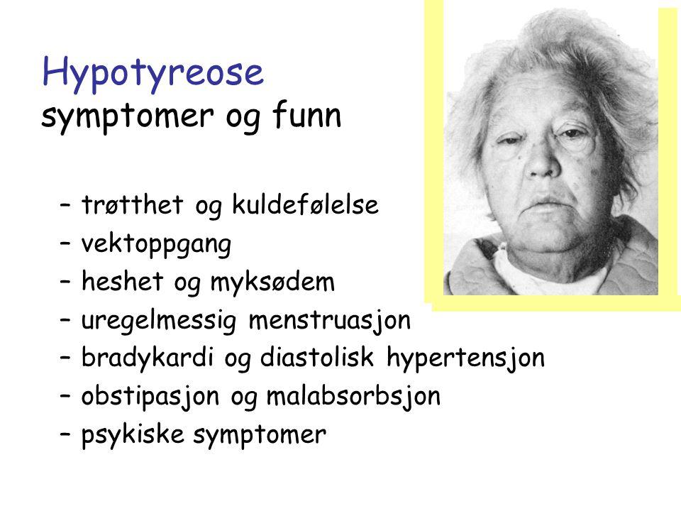 Hypotyreose symptomer og funn