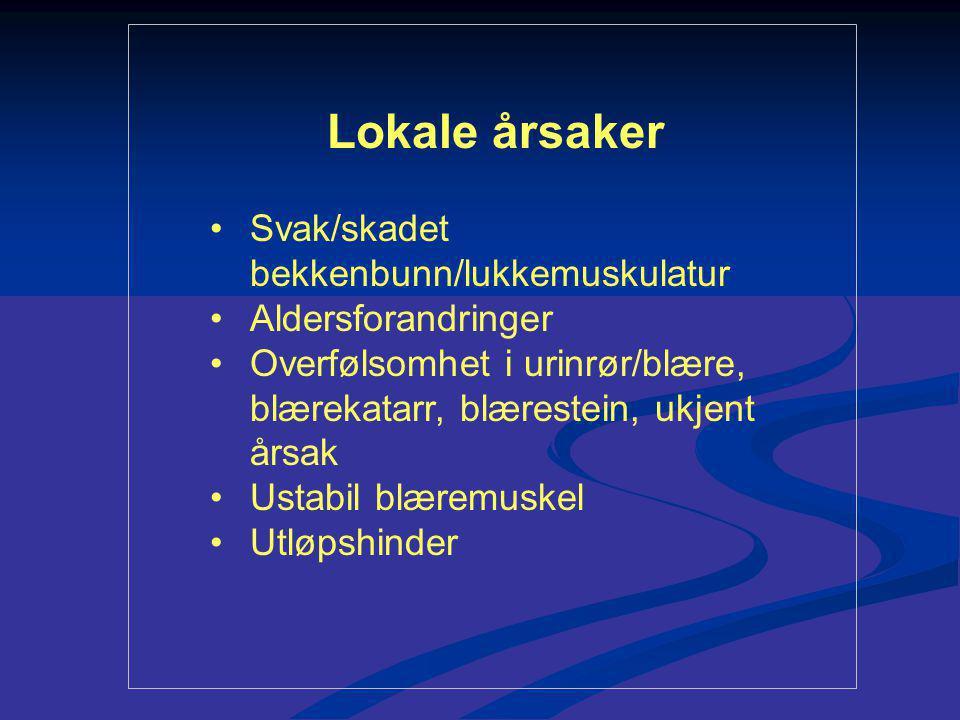 Lokale årsaker Svak/skadet bekkenbunn/lukkemuskulatur