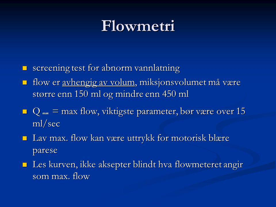 Flowmetri screening test for abnorm vannlatning