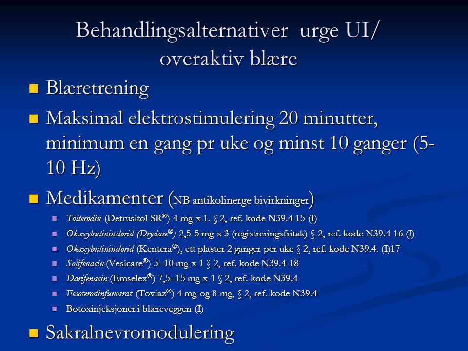 Behandlingsalternativer urge UI/ overaktiv blære