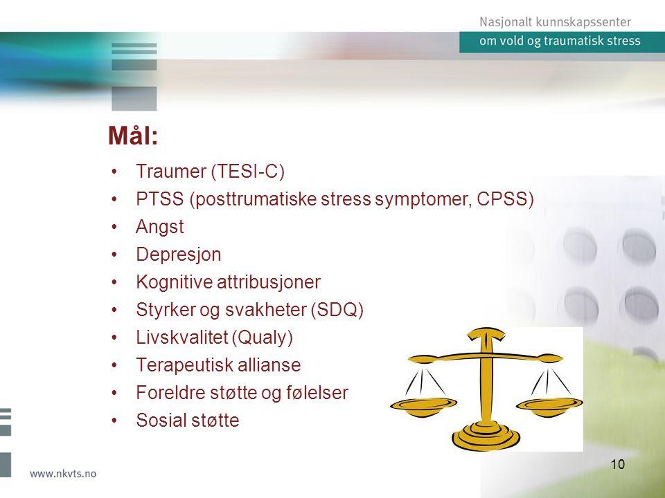 Mål: Traumer (TESI-C) PTSS (posttrumatiske stress symptomer, CPSS)
