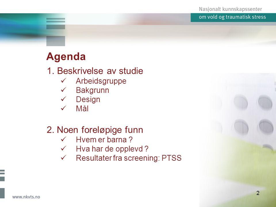 Agenda Beskrivelse av studie 2. Noen foreløpige funn Arbeidsgruppe