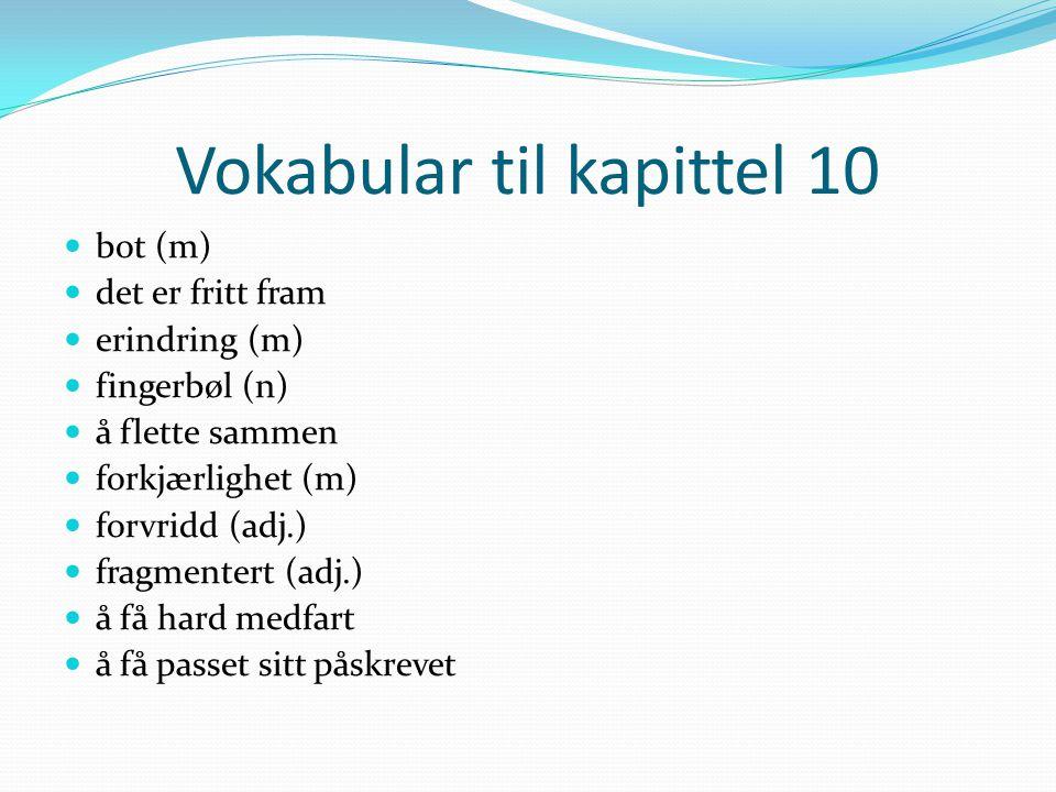 Vokabular til kapittel 10