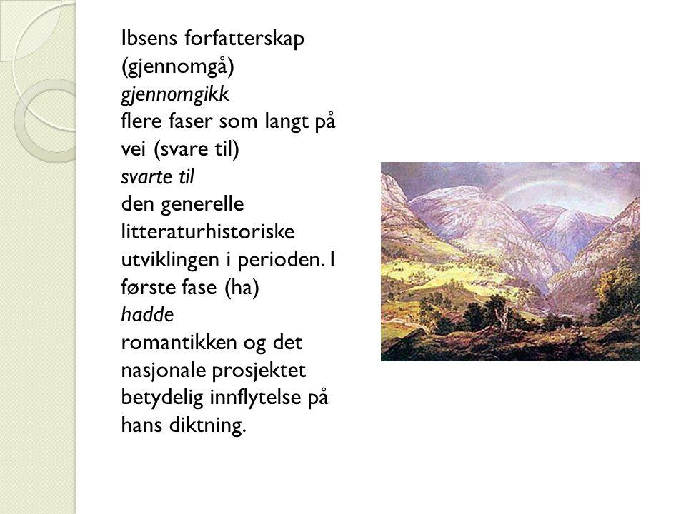 Ibsens forfatterskap (gjennomgå) gjennomgikk flere faser som langt på vei (svare til) svarte til den generelle litteraturhistoriske utviklingen i perioden.